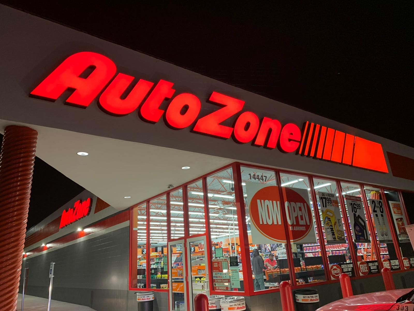 Auto Zone Night Signage Exterior Wall